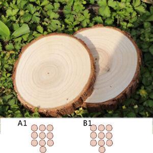 10X Round Pine Wood Slices Wedding Decor Craft DIY Polished Wooden Pieces Disc