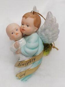 """""""Almighty God"""" Heirloom Porcelain Angel Ornament 1997 Ashton-Drake"""