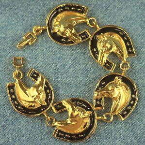 Chunky Raised Gold Tone Horse Head in Enamel Horseshoe Equestrian Rider Bracelet
