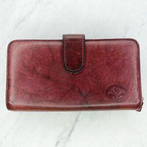Buxton Burgundy Vintage Top Grain Cowhide Leather Long Checkbook Wallet Billfold