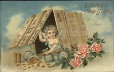 New Year - Cherub in Box w/ Bags of Gold Coins c1910 Postcard