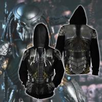 Alien vs. Predator 3D Hoodie Zipper Jacket Mens Movie Cosplay Hip Hop Sweatshirt