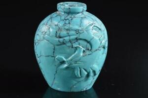 #5947: Japanese Stone jade/jewels Chicken sculpture FLOWER VASE Ikebana