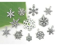 12 Winter SNOWFLAKE Charms, Antique Tibetan Silver Christmas Charm Collection