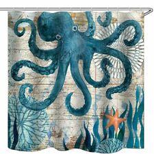 Bathroom Shower Curtain Sea Animal Oil Painting Art Decor Bath Curtains 12 hooks