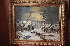 Tableau naif, paysage d'hiver
