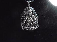 "Big ""GANESH"" Silver pendant 1.75"" antique 925 silver necklace 27"" chain"