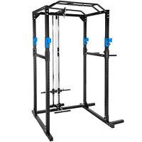 Station de musculation cage musculation dips fitness gym traction lat bleu noir