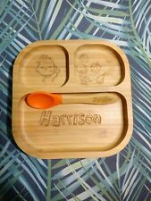 Personalised Plate & Spoon Eco Friendly Bamboo with suction cup boy girl gift