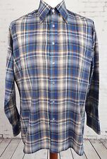 Vtg L-Sleeve 1980s Brown / Blue Check Cotton Blend Casual Shirt -L- GY18