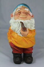 "GARDEN GNOME - 11"" TRADITIONAL PIPE SMOKING GNOME - FISHERMAN'S SMOCK GNOME"