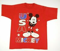 VTG 90s Disney Mickey Mouse USA Graphic T Shirt Mens XL Red