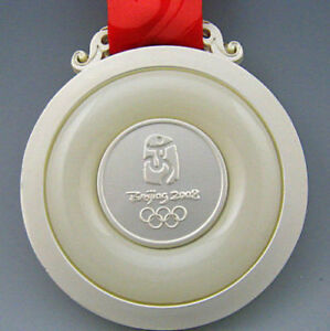 2008 BeiJing Olympic Silver Medal with Ribbons 1:1