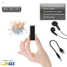 REGISTRATORE VOCALE MICRO SPY 16GB MINI AUDIO REC SPIA AMBIENTALE MP3 PEN DRIVE