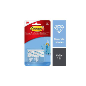 Command Small Clear Hooks with Clear Strips 17092CLR-ES