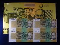 (1994) $50 Uncut Block of 4 - Fraser/Evans. Black Serials:A,B,C,D 000493.