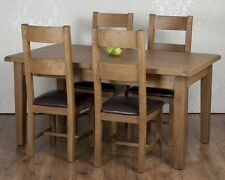 Solid Chunky Rustic Oak Dorset Extending Dining Table 4 Chairs RRP £1129!!