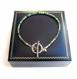 turquoise gem beads bead 925 sterling silver bracelet natural green toggle men