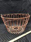 Vintage Metal Wire W bail Egg Gathering Basket Old Farm Decor Shabby Primitive