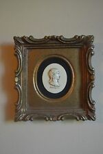 "Vintage Framed and Velvet Mounted Carved Relief Wall Cameo Bust ""Poppei"""
