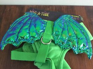 Wag a Tude Vest Harness for Dog Puppy Soft GREEN DRAGON WING XS  Small MED LARGE