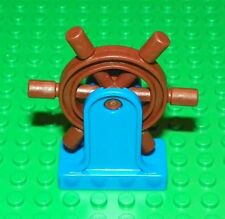 LEGO - Duplo Boat Helm (Wheel) with Blue Support - Brown