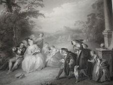 """GRAVURE 1860 """" Le joueur de Flûte """" J.B Pater 370x260"""