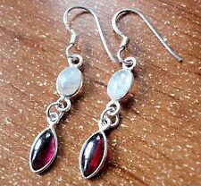 Garnet Moonstone Earrings Dbl Gem Oval Dangle Drop 925 Sterling Silver New