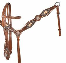 WESTERN SADDLE HORSE BLING ! BRIDLE HEADSTALL BREAST COLLAR LEATHER TACK SET