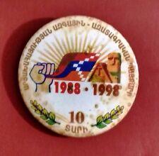ARMENIA ARTSAKH REPUBLICS 10TH ANNIVERSARY 1988-1998 ԱՐՑԱԽ METAL BUTTON BADGE