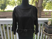 Vintage Emilio Rossi Exclusivo Black Leather Top Jacket Sz M