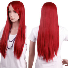 Thick Long Ombre Rainbow Curly Full Wig Pink Red Heat Resistant Wigs With Bangs