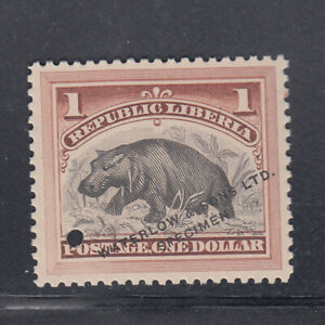 """Liberia # 47 MINT WATERLOW SPECIMEN in Brown With """"."""" & Hole Fauna 1892 HIPPO"""