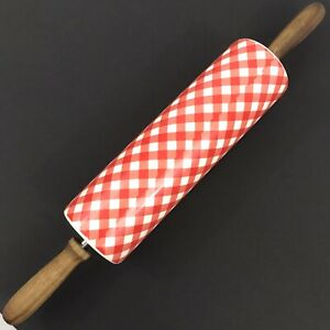 Pioneer Woman Charming Check Red White Checked Gingham Rolling Pin