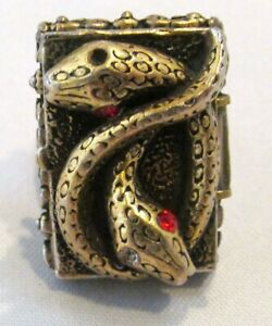 Vintage Poison Ring with Entwined Snakes Adjustable Band