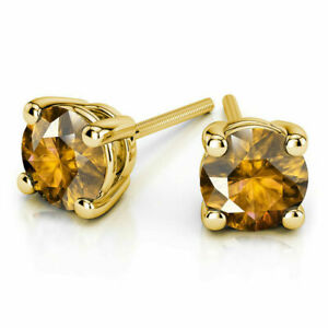 4.Ct Round Shape Natural Citrine Stud 14K Solid Yellow Gold Screw Back Earrings