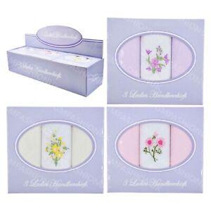 Ladies Women Plain Cotton Handkerchiefs Hankies 3 Pack Boxed Box Embroidered