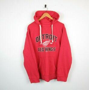 Mens NHL Detroit Red Wings Hoodie Ice Hockey American US Sports Sweatshirt | XL