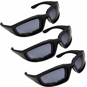 3 PAIR MOTORCYCLE RIDING GLASSES SMOKE FOR HARLEY DAVIDSON ALL WEATHER