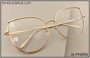 WHOLESALE LOT Oversized Retro Cat Eye Style Clear Lens Gold EYE GLASSES 6 Pairs