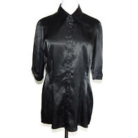 Guess Black Shiny Button Front Collared Top size Large