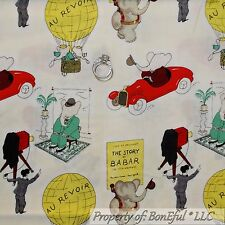 BonEful Fabric FQ Cotton Quilt B&W Babar Elephant Baby Boy Girl Cartoon French S