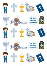 Blue Communion Cupcake Toppers Stand Ups on Wafer Card
