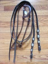 WESTERN HORSE SLIDING ONE EAR LEATHER HEADSTALL AND CONCHO LEATHER SPLIT REINS