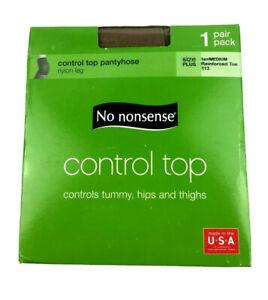 No Nonsense Control Top Pantyhose Plus Size Tan 1 Pair