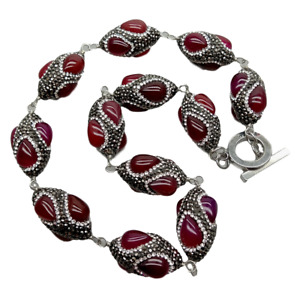 """Red agate trimmed with black rhinestone wrap Necklace 22"""""""