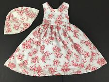 Toddler Girl Pink Cabbage Roses Chintz Cotton Sun Dress w/ Hat 3T Authentic Kids