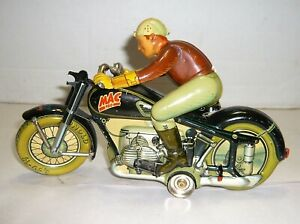 VINTAGE 1940S ARNOLD MAC 700 MOTORCYCLE WINDUP TIN TOY U.S.ZONE GERMANY