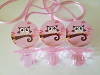 12 owl Diamond cut Pacifier Necklaces Baby Shower Favors PINK It's a Girl Game