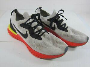 Nike Epic React Flyknit Men's Size 10.5 Platinum/Black/Orange Shoe's AQ0067-103